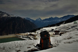 Nana devi in backdrop at Auli Hill station Uttrakhand