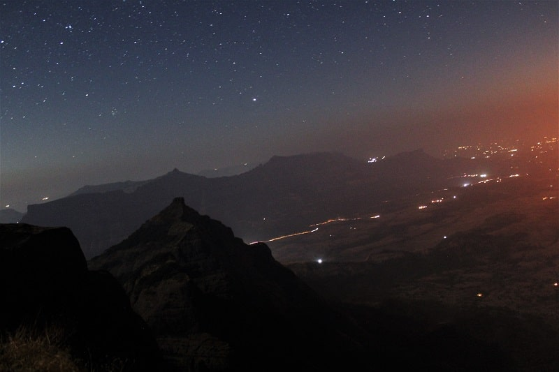 Night scene from Konkankada on Harishchandragad Fort Trek