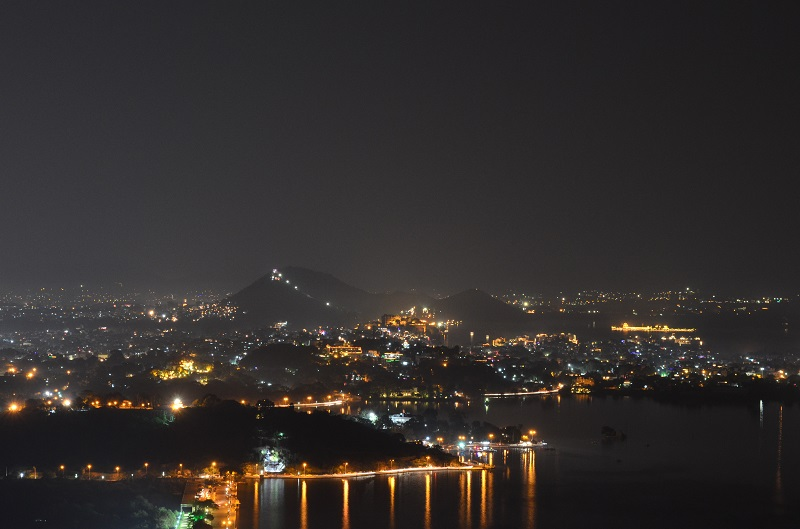 Night view from Neemach Mata Udaipur City blog post