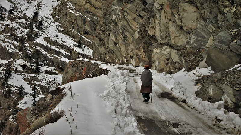 Old lady walking from Kalpa to Roghi village Himachal