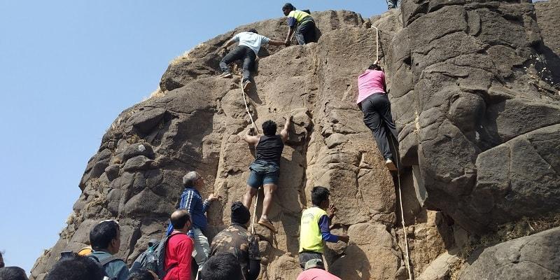 Ropes used to climb rocky patch on Kalavantin Durg Trek