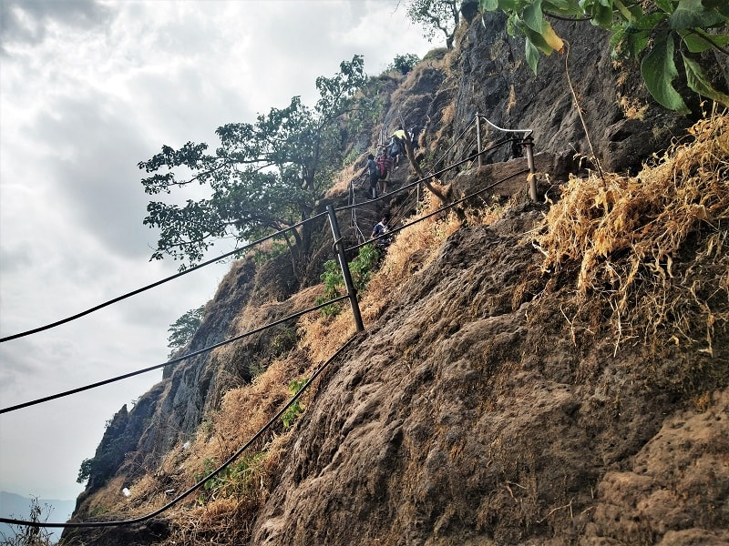 Stair route to reach Balekilla on Rajgad Fort trek
