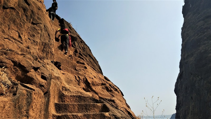 Stairs which lead to Kalavantin Durg top