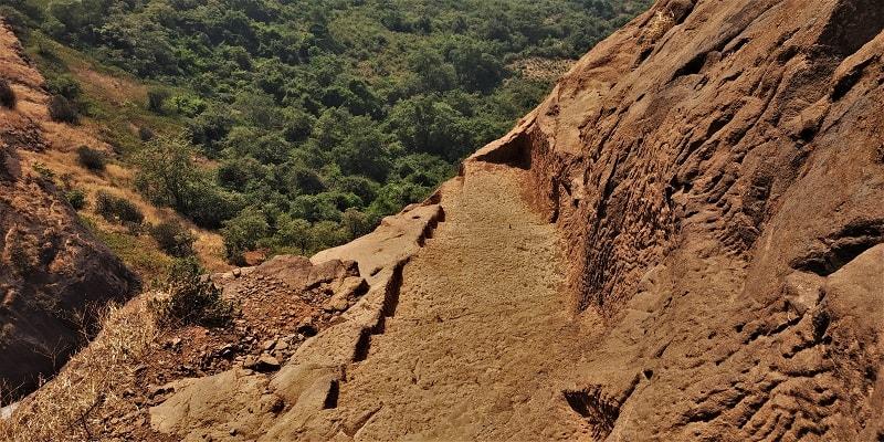 Steep stairs on Kalavantin Durg Trek