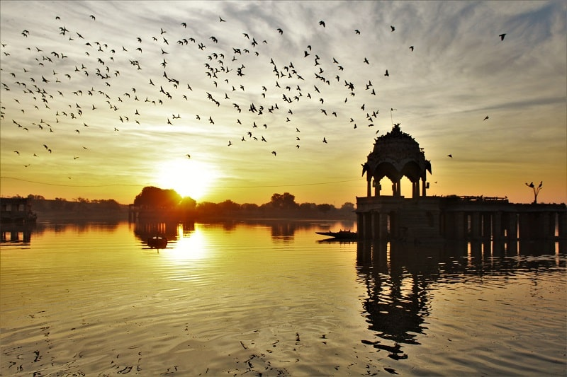 Sunrise view at Gadisar Lake Jaisalmer