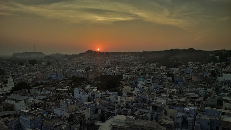 Sunset view From Pachetia Hill Mandore garden must see places in Jodhpur