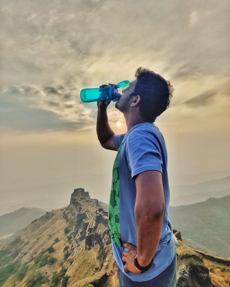 Taking a sip of Water at Rajgad Fort Maharashtra