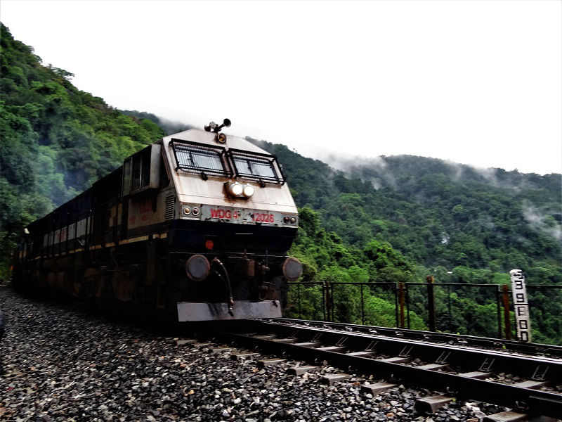 Trains passing while doing Dudhsagar Waterfall Trek