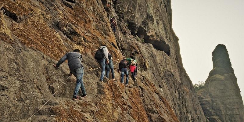 Trekkers on route to Dhak Bahiri Cave