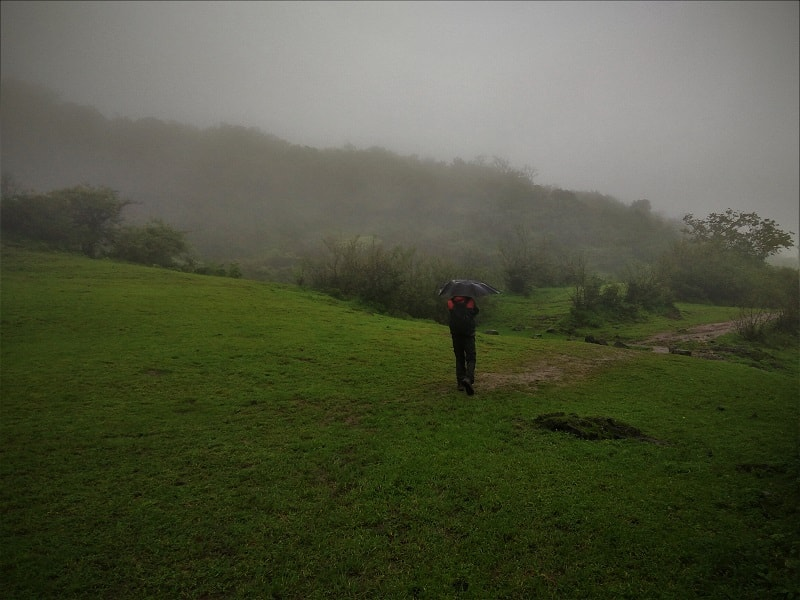 Umbrella walk at Visapur Fort Trek