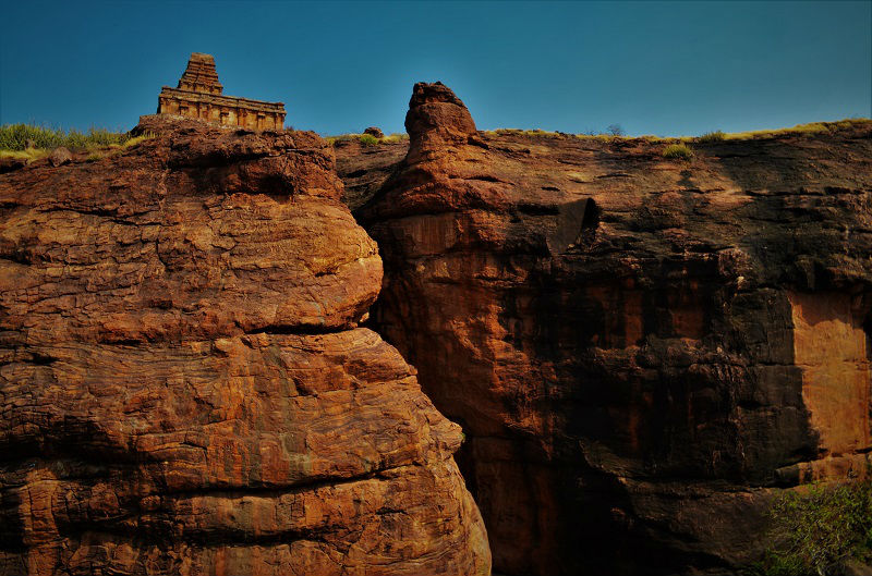 Upper Shivalaya view Badami Caves Temple Karnataka