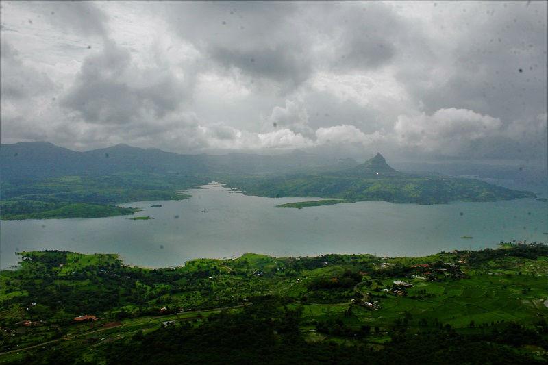 View of Pawna dam from Tikona Fort Trek