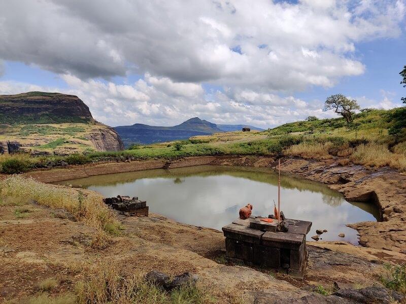 Water body at top of Harihar fort