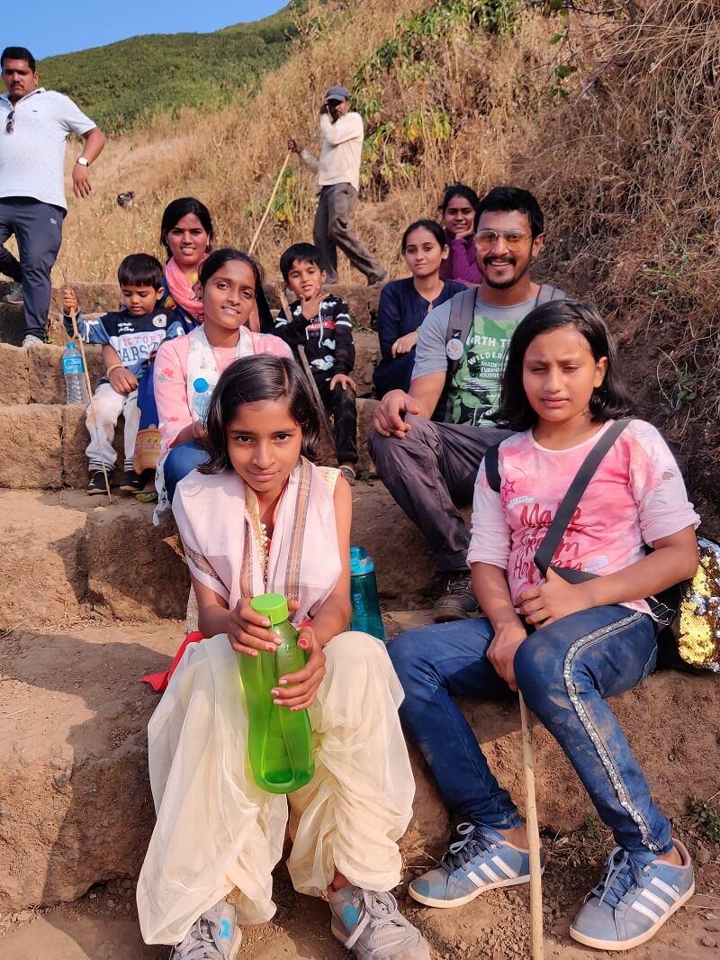 With Kids at Rajgad Fort trek