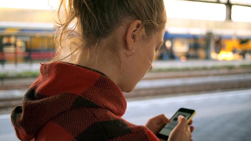 Women holding phone