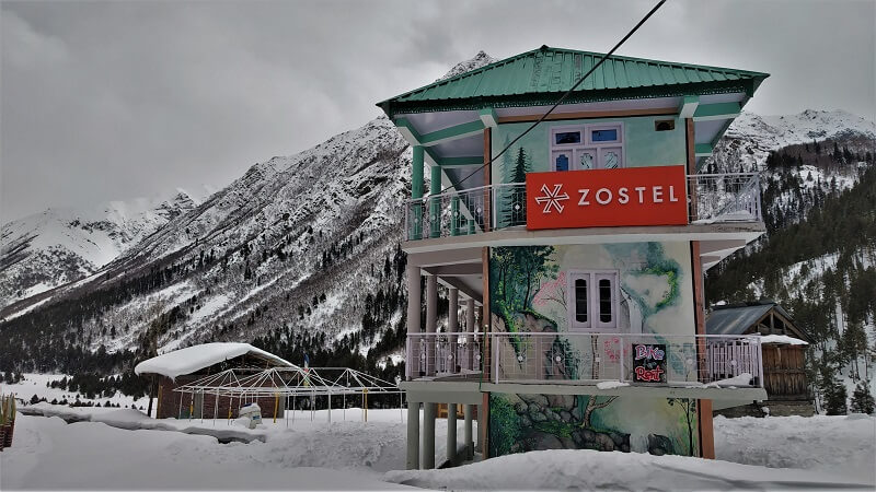 Zostel in Chitkul in winters is closed