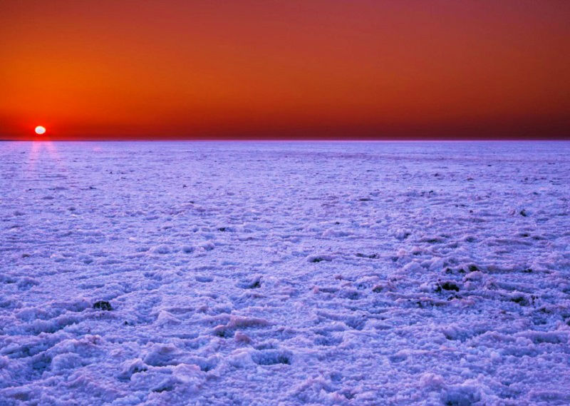 beautiful sunset at The Great Rann of Kutch Gujarat