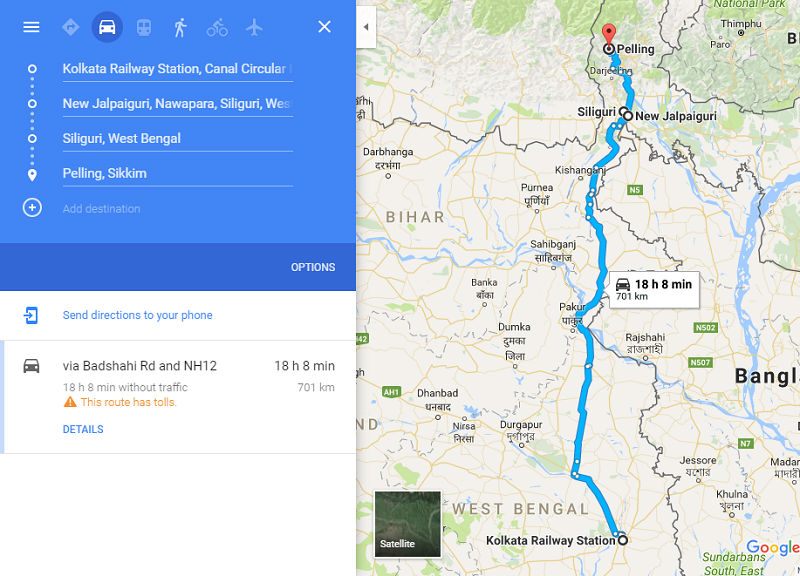 how to reach Pelling Sikkim