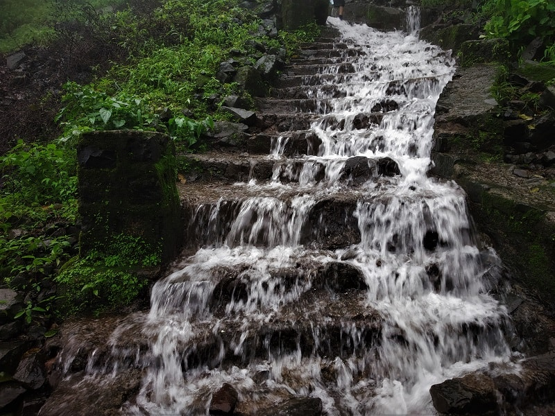 monsoon waterfall Korigad Fort Trek