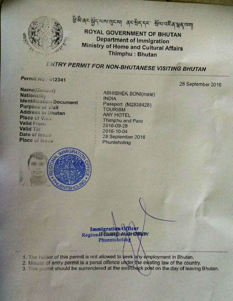 permit Bhutan from India