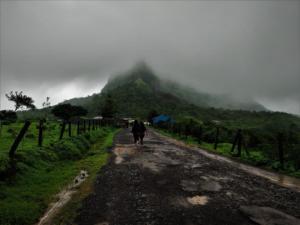 Foggy conditions Visapur Fort trek