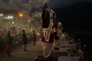 Ganga Aarti time at Triveni Ghat Rishikesh Uttrakhand