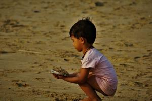 Kid playing at Gokarna beach