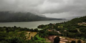 Mulshi lake as seen from Palase Waterfall Tamhini Ghat