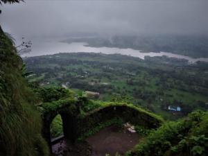 Pawna lake as seen fron Tung Fort Trek