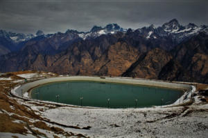 Water lake at Auli Hill Station Uttrakhand