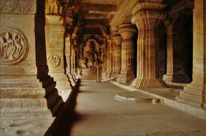 badami caves inside view karnataka