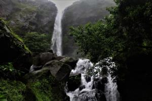 double waterfall at Tamhini Ghat