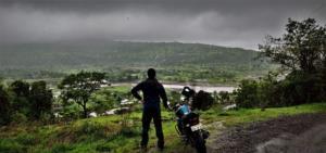 enjoying the view in route to Korigad Fort Trek