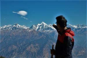 enjoying views on Khalia top trek Munsiyari
