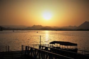 sunset view at Pichola lake Udaipur city