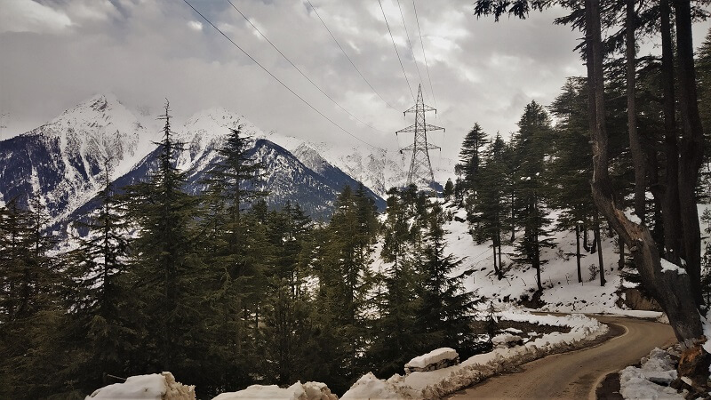 road route to Kalpa in winters