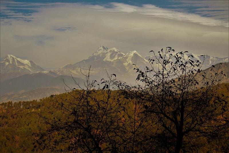 snow mountains as seen from Gwaldam Uttrakhand