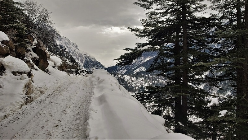 snowy road on way to Chitkul in winters