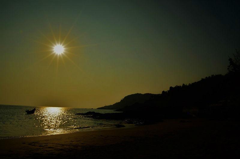 sunset time at Om beach Gokarna Karnataka