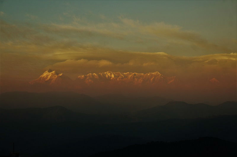 sunset view from Kausani Uttrakhand