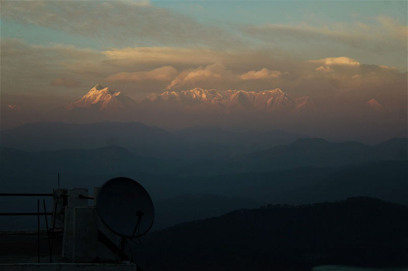 view from hotel terrace at Kausani Uttarakhand