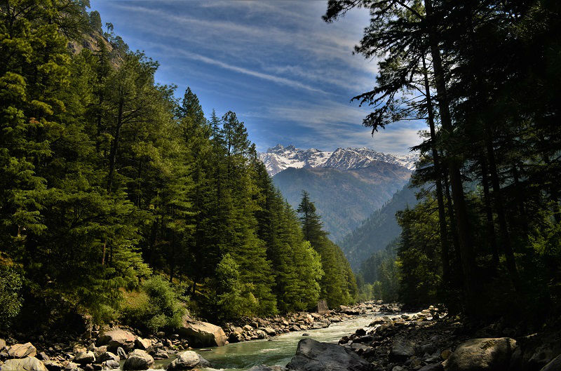 view of the parvati valley from Kasol Near Manikaran