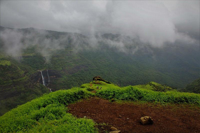 waterfall and amazing landscape Rajmachi fort trek